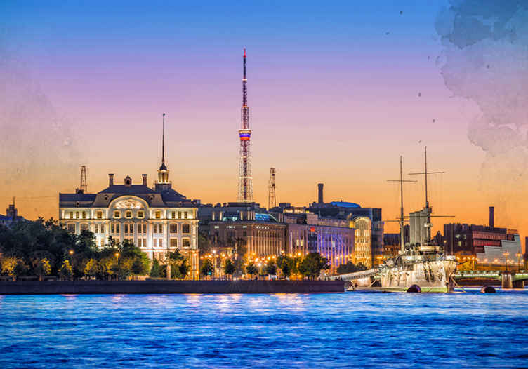 TenStickers. Night in Saint Peterburg mural wallpaper. Incredible night scenery wall mural of St. Petersburg suitable for any space to transform it in a realistic 3D appearance.