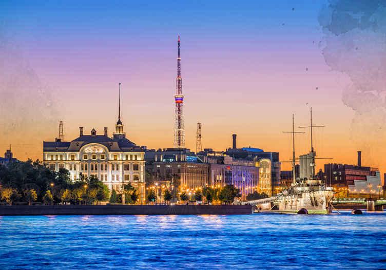 TenStickers. Papier peint mural de pays et de villes Nuit à saint peterburg. Incroyable paysage nocturne de st. Petersburg convient à tout espace pour le transformer en une apparence 3d réaliste.