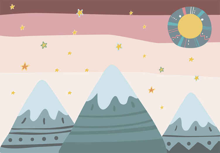 TenStickers. Happy Mountains Children´s Wall Murals. Happy Mountains kids wall murals design with mountain features, stars and other special designs. Made of high quality and easy to apply.