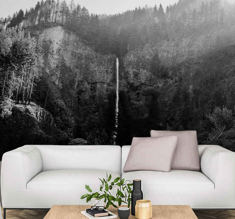 TenStickers. Multnomah falls landscape wall mural. Decorative scenery landscape wall mural design of Multnomah waterfall. Made from high quality material and easy to apply.