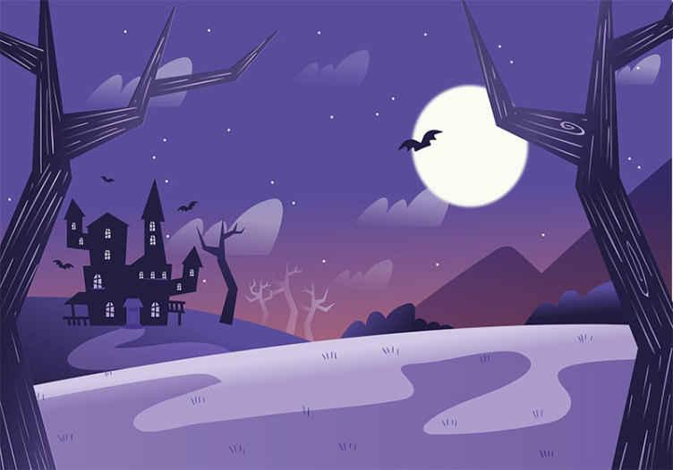 TenVinilo. Fotomural niños de Halloween castillo tenebroso. Fotomural niños Halloween que contiene un castillo malvado aterrador, murciélagos y árboles. Alta calidad ¡Envío gratuito!
