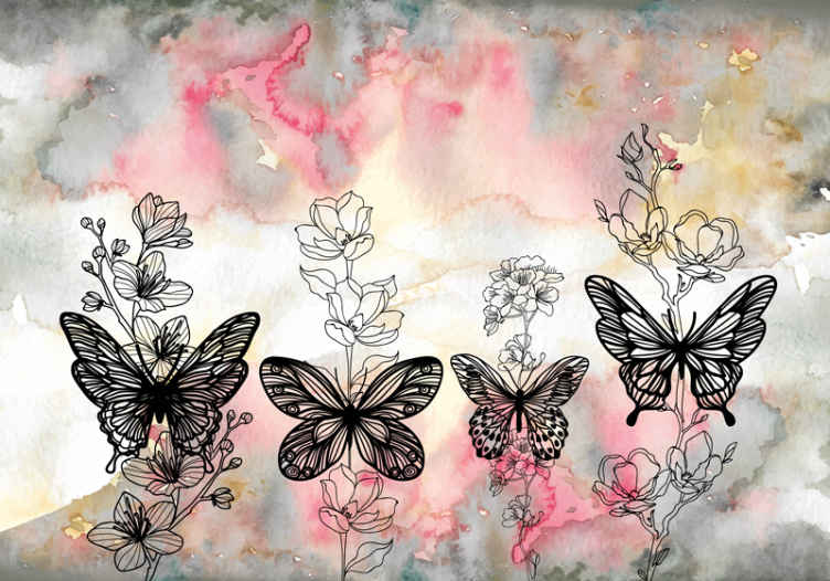TenStickers. art butterfly animal murals. Butterfly painting wall mural for children bedroom. Suitable design to transform a room with a warm touch!. Made of best quality and easy to apply.