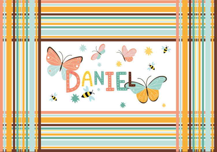 TenStickers. butterflies and bees custom murals. Personalized name butterflies wall mural. A suitable design for children bedroom. Easy to apply and of high quality material.