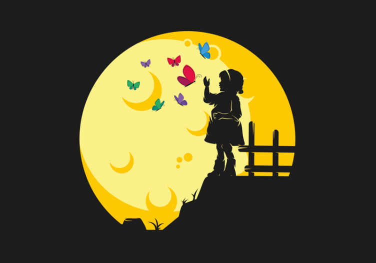 TenStickers. Butterflies Flying for Children Wall Murals. Beautiful children fantasy wall mural design containing silhouette of a kid standing in the moon with little cute butterflies and other half moon.