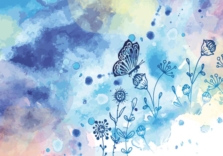TenStickers. Floral draw and butterflies flower mural. Decorative blue butterfly wall mural for children bedroom. A design decoration to transform a room with a warm touch!. Easy to apply and of quality.