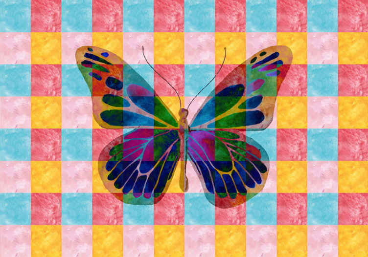 TenStickers. multicolored Butterflies abstract mural. Beautify multicolored butterflies wall mural for children bedroom space. It is original, durable, easy to apply and available in different sizes.