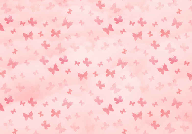 TenStickers. Pink butterflies pink mural wallpaper. Amazing pink wall mural featured with prints of pink butterflies. Decoration to create a fairy feeling of an atmosphere of for kids.