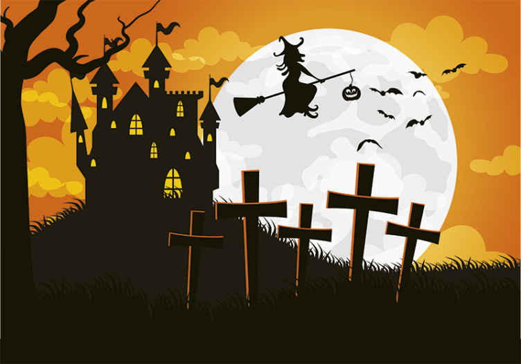 TenStickers. Halloween house with witch wall mural wallpaper. Scary decorative Halloween wall mural design containing different horror features. A design to incite Halloween fear and terror on guest and friends.