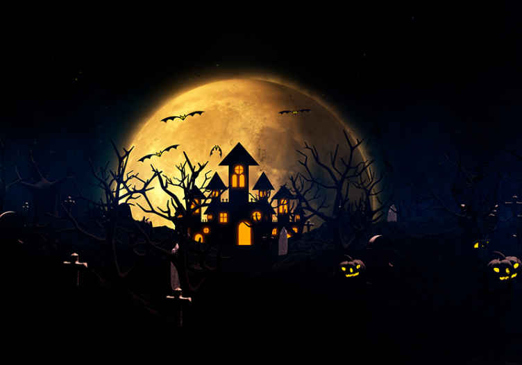 TenStickers. Scary foggy night with light up pumpkin wall mural wallpaper. Realistic photo wall mural design to decorate a space for Halloween festival. The design contains a castle in a full moon.  Original and easy to apply.