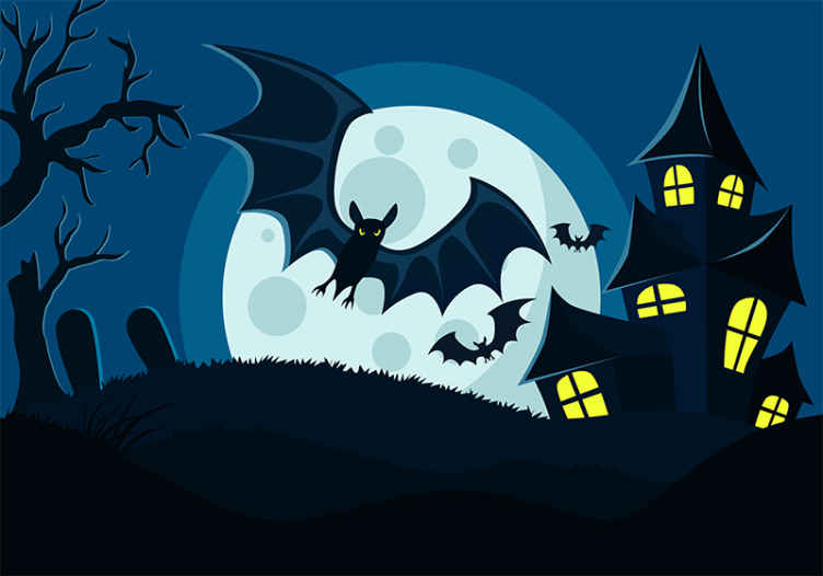 TenStickers. Abandoned black and white house wall mural wallpaper. Imagine an abandoned house or castle take over by black bats and evil owl. This is what this Halloween wall mural depicts. Easy to apply and original.