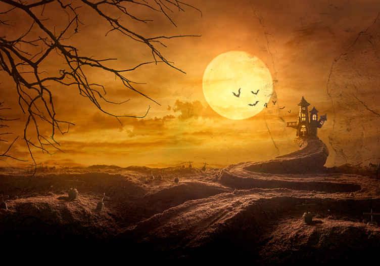 TenStickers. Fotowand Kasteel op de heuvel met vleermuizen. Laat uw geest op hol slaan met verbeeldingskracht van terreur in een verlaten kasteel met dit aanbevolen halloween heuvel fotobehang.
