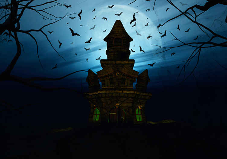 TenStickers. Scary old big house with bats and full moon wall mural wallpaper. Decorative scary hunted big house Halloween wall mural to decorate any wall space to install the atmosphere with Halloween scare and horror.