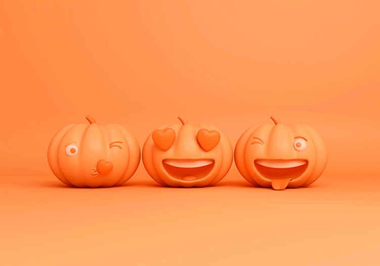 TenVinilo. Fotomural Halloween emojis calabazas. ¿Buscas un colorido diseño de fotomural halloween? Diseño con calabazas emojis divertidas ¡Envío a domicilio!