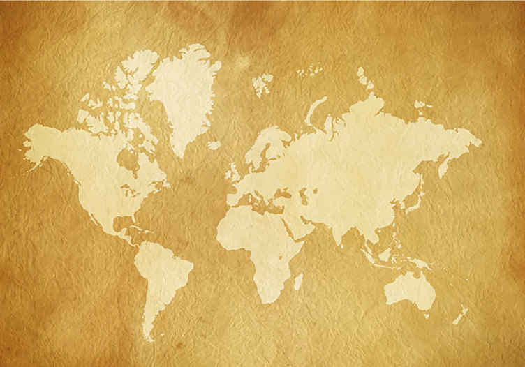 TenStickers. Mural de parede vintage mapa mundo amarelo. Este fotomural de parede decorativo vintage ficará perfeito como a decoração do seu quarto ou até na sua sala de estar. Entrega grátis!