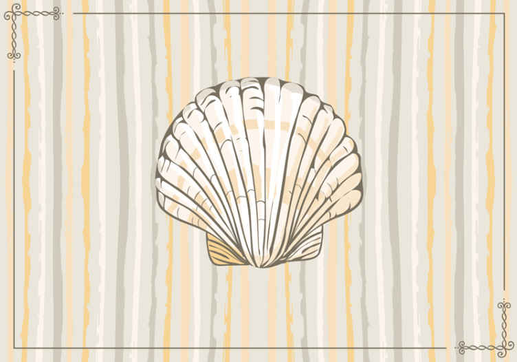 TenStickers. Big Seashell animal murals. High quality horizontal line pattern wall mural with design of a big seashell prints on a it surface. The product is original nd really easy to  apply.