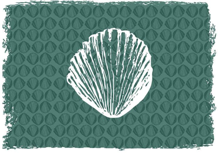 TenStickers. Fotomurais de Parede Padrão de concha retrô. Pintura fotomural decorativo de animais com padrão de concha do mar retro de nossa coleção de desenhos de fotomural vinílico de parede com impressão de concha animal. é fácil de aplicar e original.