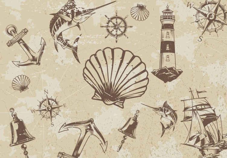 """""""Tenstickers"""". Jūros objektų senovinis paveikslas. Pareikškite savo namams senovinį prisilietimą naudodami mūsų originalų senovinį nuotraukų paveikslą su kriauklių dizainu. Jis susideda iš įvairių jūros objektų ir kriauklių."""