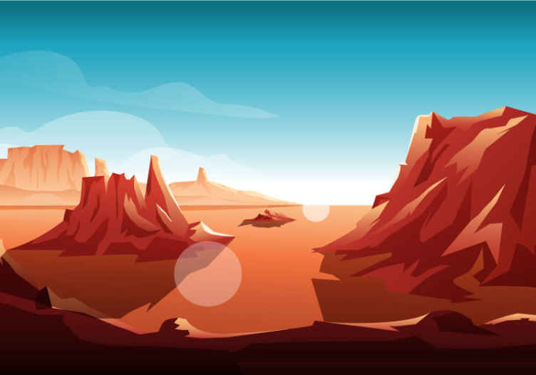 TenStickers. Papier peint chambre enfant Soleil du désert. Décorez votre maison avec un look de luxe avec notre papier peint de haute qualité imprimé paysage désertique. Il est original, durable et facile à appliquer.