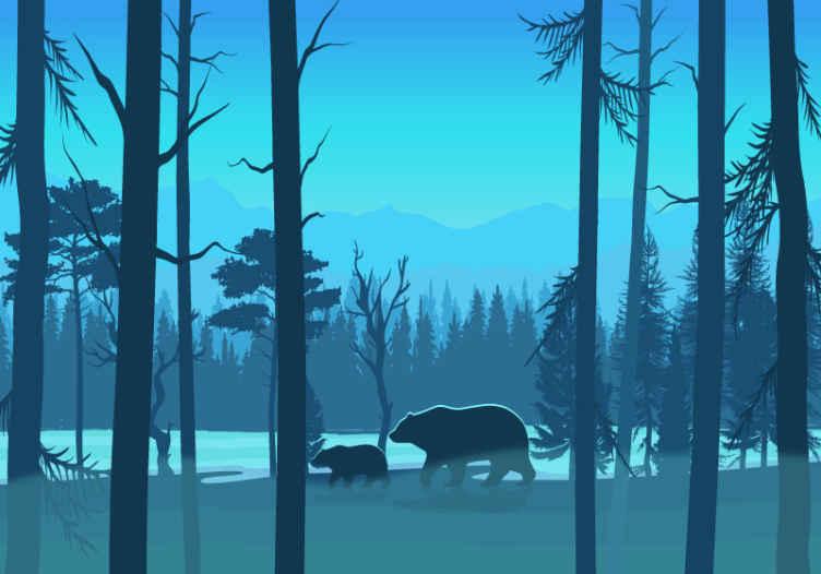 TenVinilo. Fotomural de bosque frondoso dibujado con osos. Precioso fotomural paisaje con osos y montañas para que decores el cuarto de tu hijo y lo llenes de frescura y vida ¡Envío gratuito!