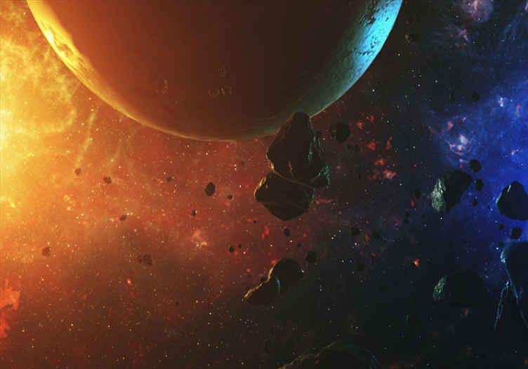 TenStickers. 다채로운 은하계 밤하늘 벽화. 밤에 소행성과 함께 지구본을 보여주는 현실적인 다채로운 은하계 풍경 벽화.. 독창적이고 내구성이 뛰어나며 적용하기 쉽습니다.