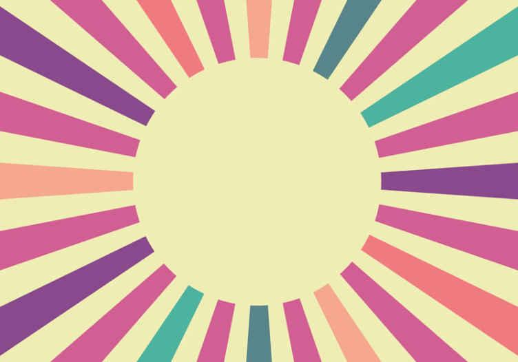 Tenstickers. 70-luvun geometrinen aurinko valokuvatapetti abstrakti. 70-luvun koristeelliset geometriset auringon abstraktit valokuvatapetti sisustaa olohuone, makuuhuone tai mikä tahansa tila kotisi. Se on alkuperäinen ja helppo levittää.