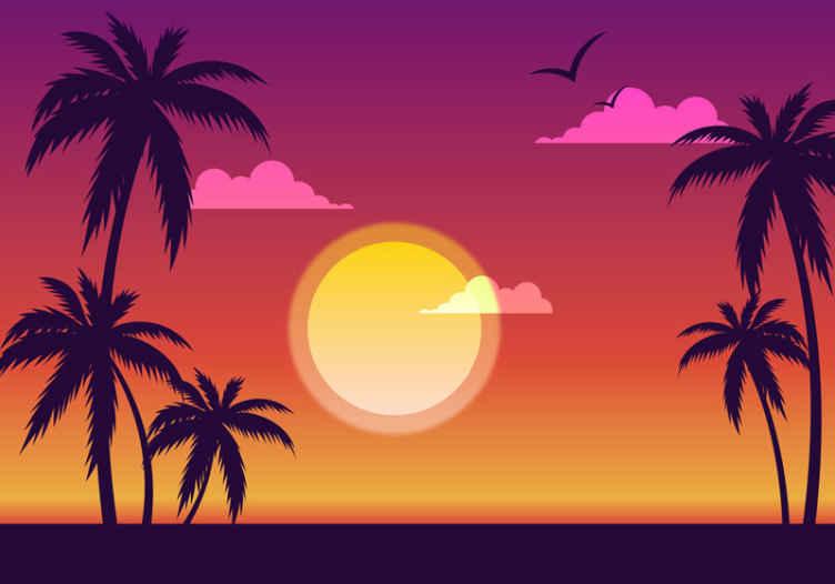 TenStickers. Fotomuralne palme sončnega zahoda 70-ih. čudovite palme in sončne fotomeralne sončne ure za okrasitev katerega koli prostora v vaši hiši. Visokokakovosten izdelek!