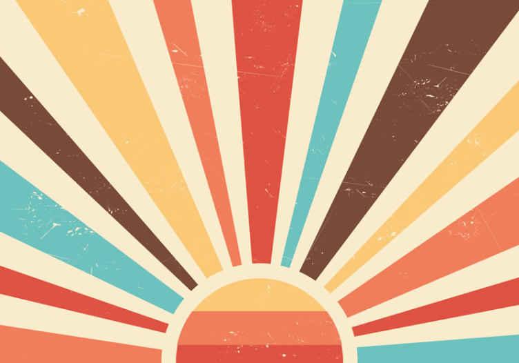 TenStickers. Fotobehang abstracte vintage zonsondergang. Origineel retro fotobehang op het strand om elke gewenste ruimte in uw huis te decoreren. Hoogwaardig product geleverd aan uw voordeur!
