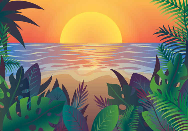 """""""Tenstickers"""". Fotomūrinis retro saulė ir paplūdimys. Aukštos kokybės retro saulėlydžio laiko paplūdimio fotomūralas, skirtas papuošti bet kokią norimą namo vietą. Pristatymas prie jūsų lauko durų galimas!"""