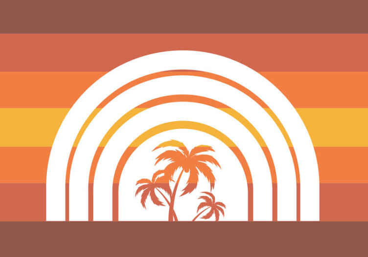 TenStickers. Retro Sunset and Palms landscape wall murals. High quality retro palm trees and sunset photomural to decorate any space in your house you want. Delivery to your front door available!