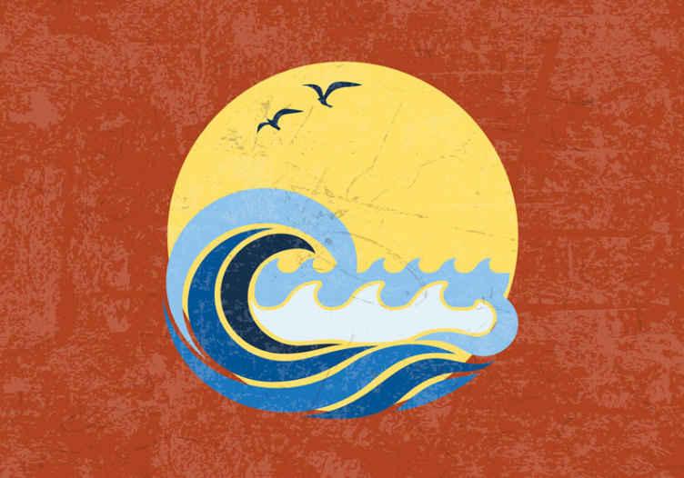 TenStickers. Sonce, plaža in val vintage fototapeta. Sončna plaža in valovna fotografija v vaši sobi. S to ikonično tapeta lahko okrasite svojo dnevno sobo, spalnico, dvorano, pisarno in druge prostore.