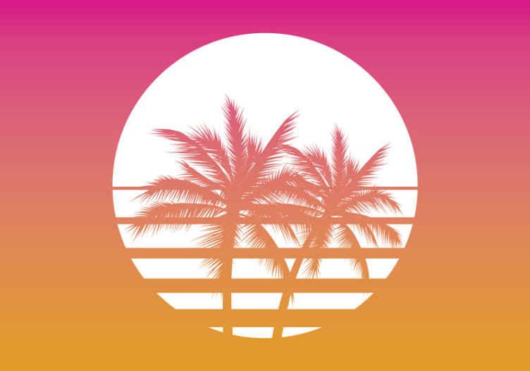 TenVinilo. Fotomural paisaje puesta de sol con palmeras. Fotomural vintage al atardecer con atardecer en tonos morados con palemas. Elija un tamaño adecuado y decore su pared ¡Envío gratuito!