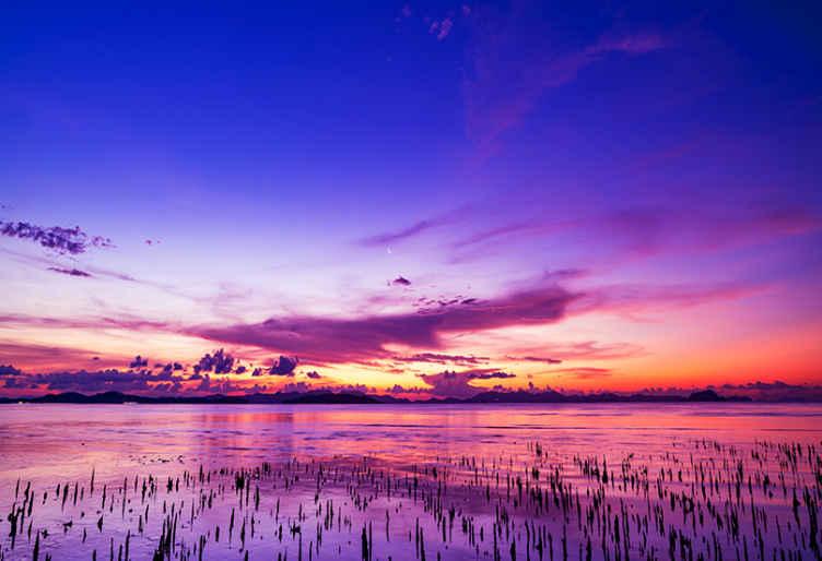 Tenstickers. Violetti taivas heijastuu vesiseinämaalaus meri valokuvatapetti. Tällä kauniilla violetilla auringonlaskun seinämaalauksella saat todella tunteen olla luonnossa ja kokea upean auringonlaskun joka päivä! Tilaa nyt!