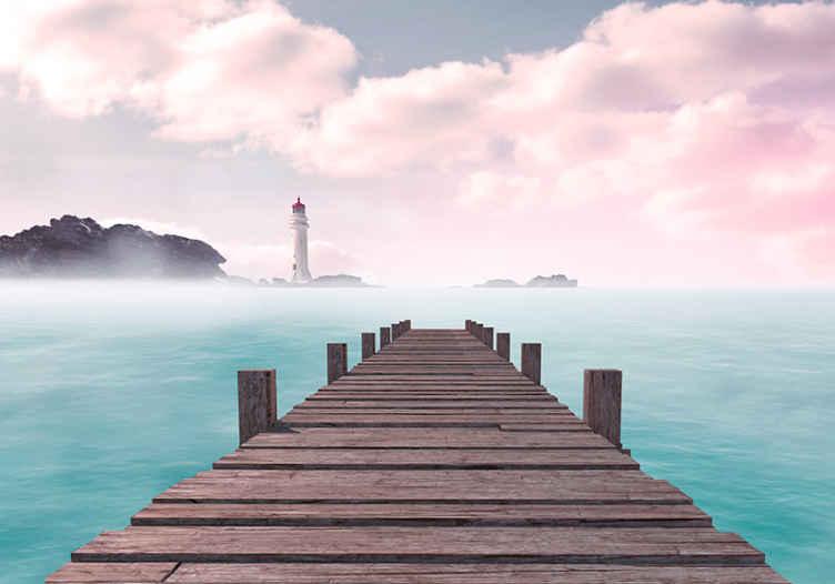 Tenstickers. Laituri katselee valtameren tapetti kuvalla meri valokuvatapetti. Koristeellinen merimaisema maisema tapetti kuvalla, jossa on laituri aivan vesimuodostuman yläpuolella. Helppo levittää ja kestävä.