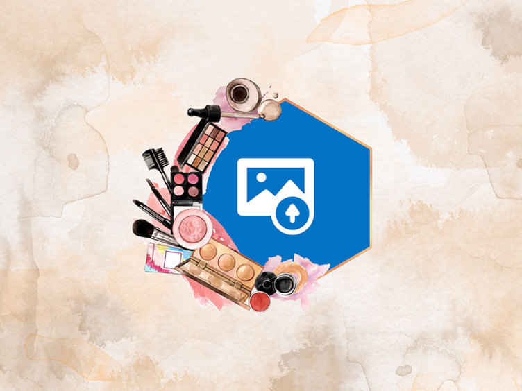 TenStickers. creative make up tools with photo custom murals. Realistic and creative featured makeup tools wall mural.  Pretty design for a lady's room, it is original, durable and easy to apply.