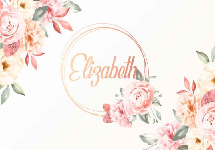 TenStickers. Květiny rám s názvem vlastní nástěnné malby. Přizpůsobitelná fototapeta pro zkrášlení ložnice. Je krásný s designem růžové květinové kytice a jménem krouženým uprostřed.