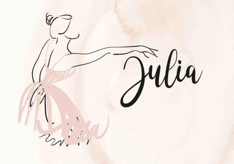 """""""Tenstickers"""". Individualizuotas šokių mylėtojo užsakymas fotomūralas. Asmeninio vardo sienų paveikslo piešimo iliustracija, kai moteris ištiesia ranką šokdama. Jis lengvai tepamas ir lipnus."""