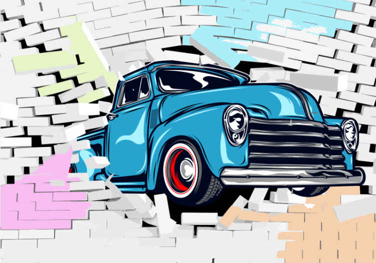 TenVinilo. Fotomural coche antiguo cruzando pared ladrillo. Compra este colorido fotomural coche antiguo hoy, ¡tus paredes se verán increíbles! Fácil de aplicar a tu pared ¡Envío gratis!