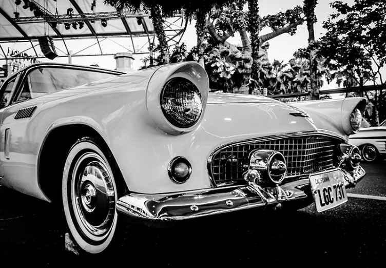 """""""Tenstickers"""". Senovinio stiliaus didelio automobilio sieninis paveikslas. Nuostabus juodai baltas senovinių automobilių sieninis paveikslas, kuriuo papuoši savo gamtos sieną! Išsirinkite sau tinkamą dydį ir dekoruokite."""