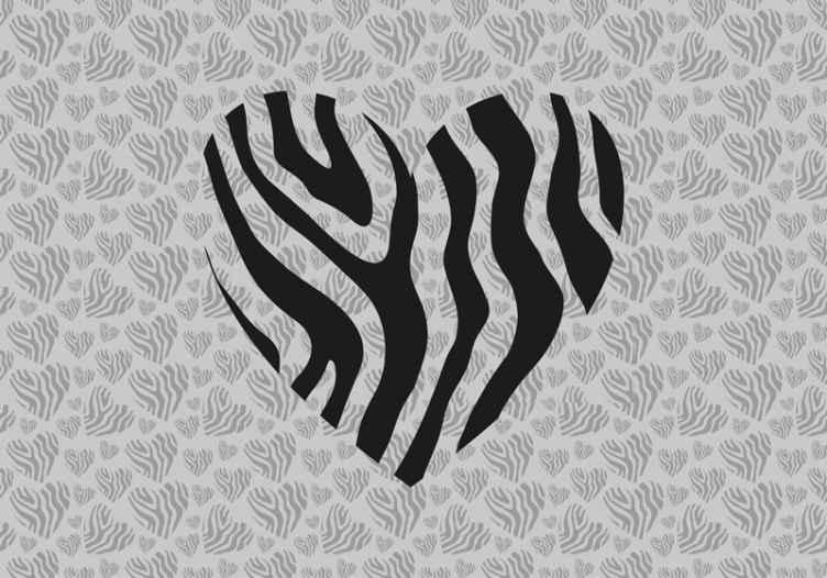 Tenstickers. Sebra animal print hjerte kjærlighet veggmaleri. Behandle veggene dine til en fantastisk dekorasjon i dag med denne sebrakjærligheten veggmaleri. Du kan bestille den i dag og ha den på veggene på få dager!