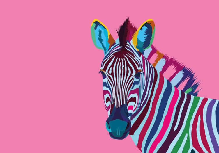 TenVinilo. Fotomural animal cebra arte moderno. Mural de animal con una cebra de colores de estilo artístico y un fondo rosa, ¡este diseño quedará genial en tus paredes! ¡Envío gratis!