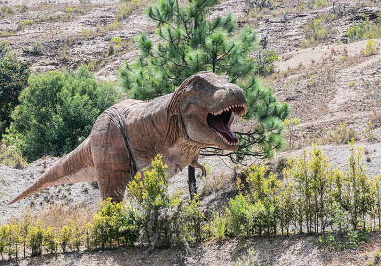 TenStickers. T-rex běh v horách dětské fototapety. Ozdobte si dnes stěny své dětské ložnice děsivou fototapetou dinosaura t-rexe. Lze snadno umístit podle pokynů, které jsou součástí dodávky!