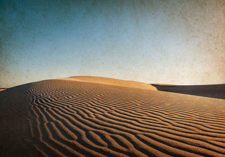TenStickers. Zidna tapeta u pustinji istočne sahare. Zidni zid pustinje koji ima zadivljujuću sliku pješčanih dina u pustinji sahara pod plavim, vedrim nebom. Lako se nanosi.