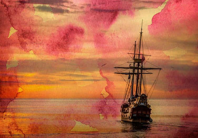TenStickers. žuti zalazak sunca s brodom pod zidnim zidom. Morski zidni zid sa ilustracijom zalaska sunca s morem i malom jedrilicom, savršenom za uređenje vašeg ureda ili dnevne sobe.