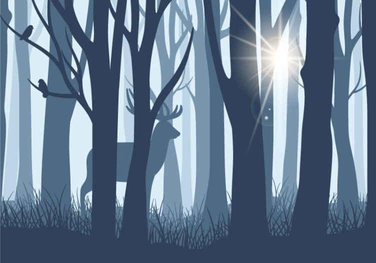TenStickers. Fototapeta sobi a stromy. Tento design ilustruje nástěnnou fototapetu siluetu sobů a stromů a dodává vašemu domovu přirozený vánek a styl s tmavě modrými tóny.