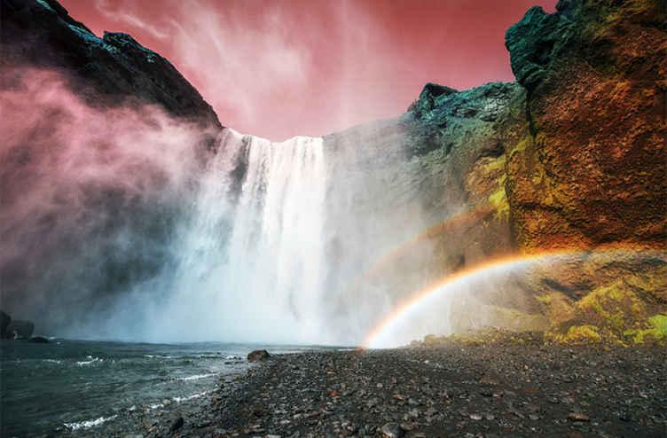 """""""Tenstickers"""". Didžiulis krioklio raudono dangaus krioklio paveikslas. Suteikite nepakartojamą ir skanų savo namų vaizdą naudodami šį gražų krioklio sieninį paveikslą! įeikite į savo namus ir pamatykite atogrąžų mišką"""