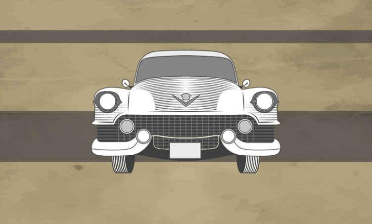 TenVinilo. Fotomural vintage coche de 51 Cadillac. Este fotomural vintage de coche Cadillac 51 desde un hermoso ángulo frontal. Perfecto para decorar tus paredes ¡Envío gratuito!