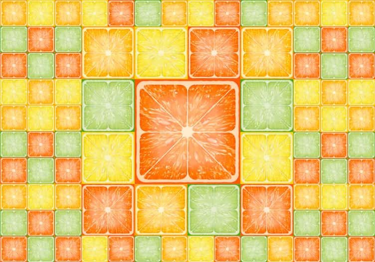 TenStickers. Fototapeta barevné citrusové textury. Tato barevná fototapeta s texturou citrusové textury se vyrábí s ničím menším než s nejkvalitnějším materiálem na trhu.