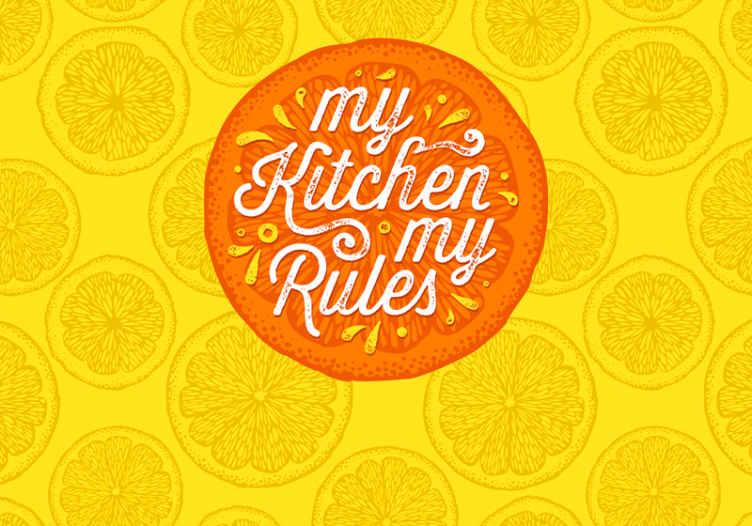 """""""Tenstickers"""". Oranžinė ranka piešti virtuvės freskas. Pakeiskite savo virtuvės erdvės išvaizdą naudodami šį nuostabų oranžinio rašto sienų paveikslo gabalėlį. Jis pagamintas iš originalios medžiagos ir labai patvarus."""