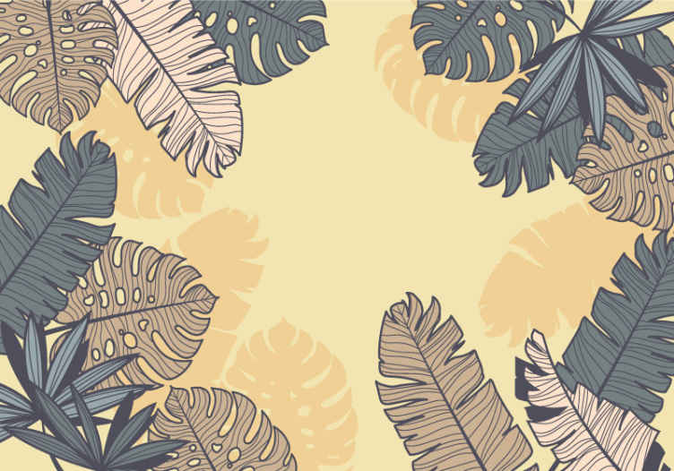 TenStickers. Pastelově žlutá monstera nástěnná tapeta. Přírodní fototapeta s designem velkých stromových listů, v béžových a tmavě modrých barvách, ideální pro vyplnění elegancí a přírodou stěn.