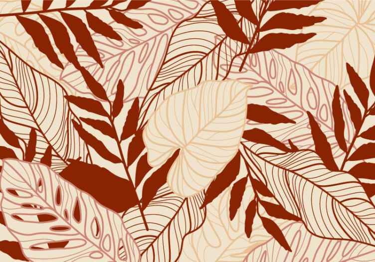 TenStickers. Zemljani monstera zidni zid. Ovaj je poseban zidni motiv inspiriran lišćem monstere u različitim oblicima i dijelovima u krem i bordo bojama. Kupi sada!